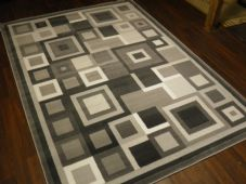 Modern Approx 8x5ft 160cmx230cm Woven Backed Squares Quality Rugs Silver/Grey